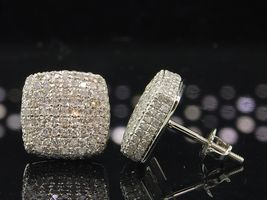 10k White Gold Plated 925 Silver Round Cut Cubic Zirconia Women's Stud Earrings - $96.35