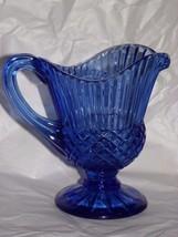 Vintage Avon Cobalt Blue Glass Pitcher Mount Vernon - $8.91