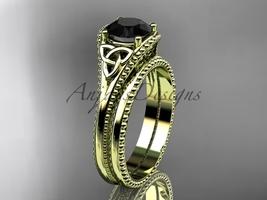 Black Diamond Celtic knot wedding rings sets 14k yellow engagement ring CT7375S - $1,335.00