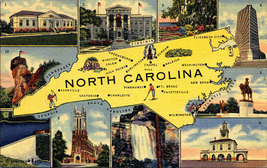 North Carolina State Map Vintage Linen Greetings Postcard 1946 - $2.99