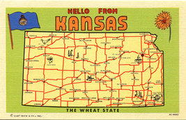 Kansas State Map Vintage Linen Greetings Postcard (unused) - $2.99