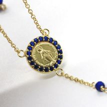 18K YELLOW GOLD ROSARY NECKLACE, FACETED SAPPHIRE ROOT, CROSS & MIRACULOUS MEDAL image 3