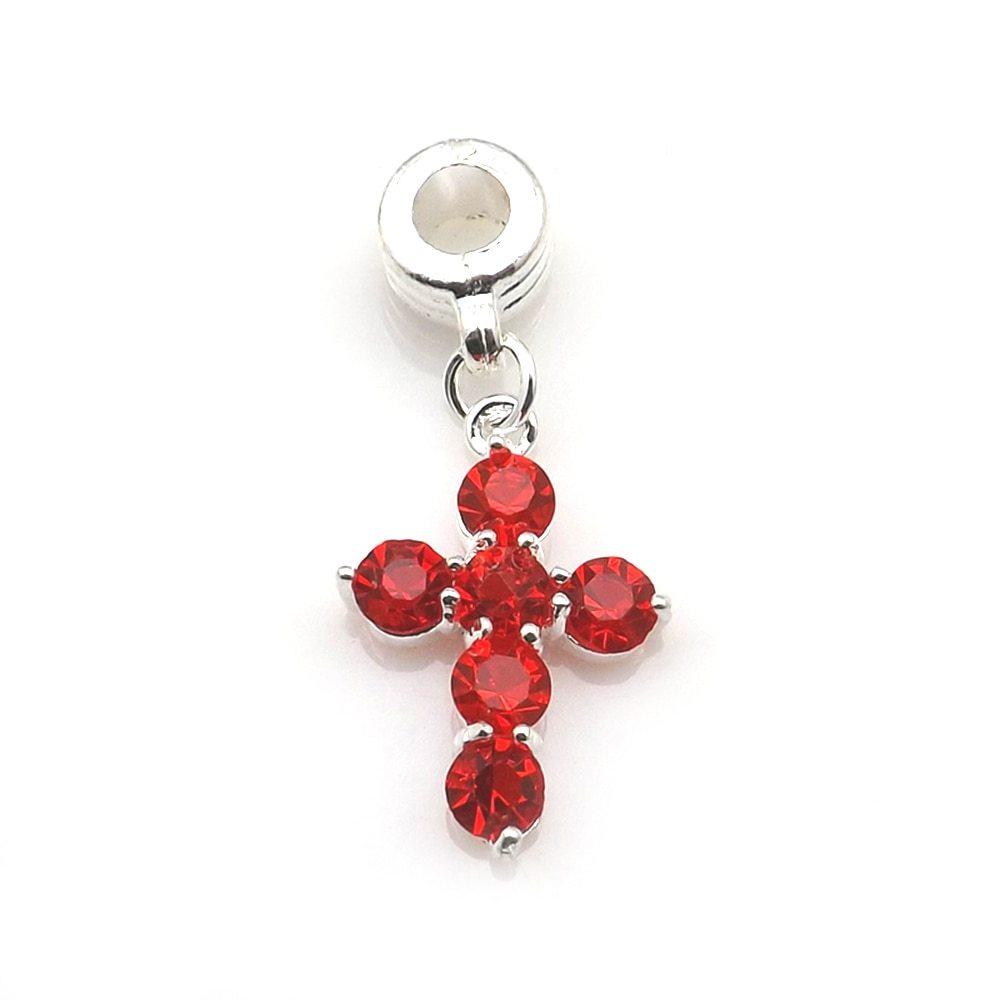 Fashion Crystal Crosses Necklace Pendant European Style Multicolor Rhinestone Ch image 4