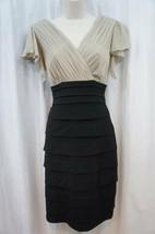 Sangria Dress Sz 10 Beige Black Combo Tiered Evening Cocktail Dinner Dress - $19.71