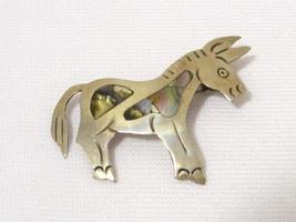 Vintage Mexican Sterling silver Inlaid Abalone Donkey Pin/Brooch - $15.00