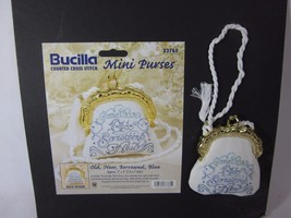 Bucilla Counted Cross Stitch Mini Purses #33765 Old New Borrowed Blue FINISHED - $19.79