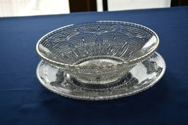 Federal Glass Co Heritage Chop Plate & Serving Bowl Gold Rim - $9.90