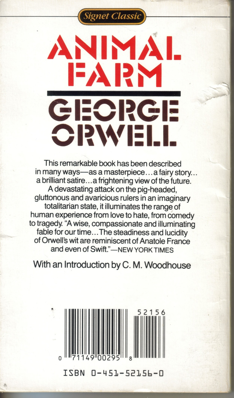 animal farm by orwell Read common sense media's animal farm review, age rating, and parents guide classic satirical allegory about the abuse of power george orwell's novel.