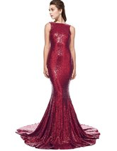 Women's Bateau Neck Sequins Mermaid Evening Dress Backless Formal Prom Gown 2018 - $108.99