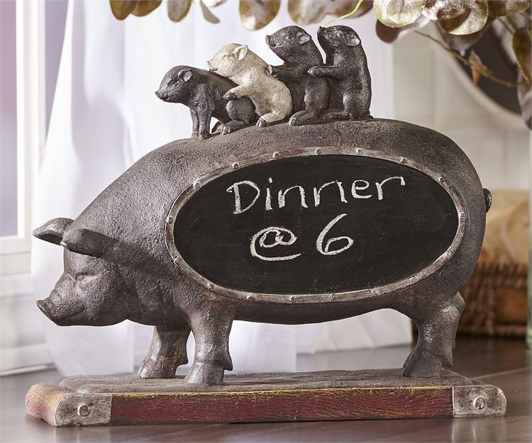 "12.8"" Black Pig Design Chalkboard Features Mother Pig Carrying Her Piglets"