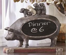 "12.8"" Black Pig Design Chalkboard Features Mother Pig Carrying Her Piglets"