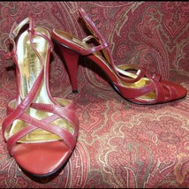 "NINE WEST burgundy sandals 6.5 w/4"" heel (TGR-0DH9G)* - $17.80"