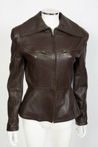 State of Claude Montana Brown Leather Bomber Aviator Jacket sz 6 - 8 - $125.00