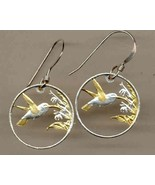 "Trinidad & Tobago 1 cent ""Hummingbird"" gold on silver cut coin earrings - $105.00"