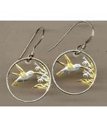 "Trinidad & Tobago 1 cent ""Hummingbird"" gold on silver cut coin earrings - $105.00"