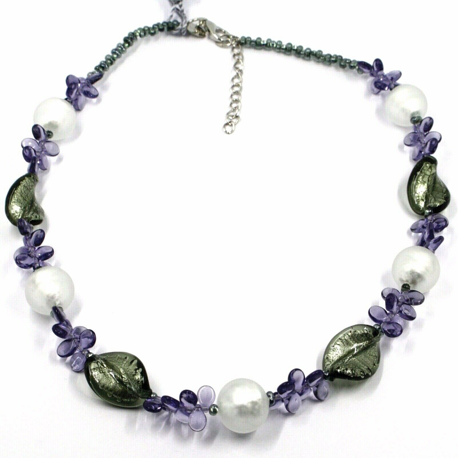 NECKLACE PURPLE PETALS DROPS, SATIN SILVER SPHERE SPIRAL WAVE MURANO GLASS ITALY