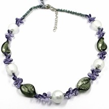 NECKLACE PURPLE PETALS DROPS, SATIN SILVER SPHERE SPIRAL WAVE MURANO GLASS ITALY image 1