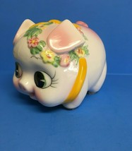 RARE Vintage 1950's Westpac Japan Ceramic Piggy Bank Pastel Floral Hand ... - $24.31