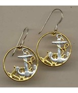 Spanish 50 centimes gold and silver cut coin jewelry earrings - $130.00