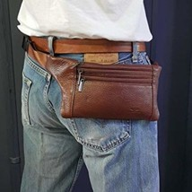 Mens Leather Waist Hip Lumbar Fanny Pack Bag Womens Travel Cell Phone Po... - $38.71 CAD