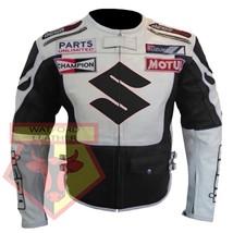 SUZUKI ICON BLACK/WHITE MOTORBIKE COWHIDE LEATHER MOTORCYCLE BIKER JACKET - $194.99