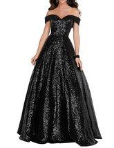 Women's Off Shoulder Sequins Long Prom Party Dress A Line Formal Sequins... - $115.77