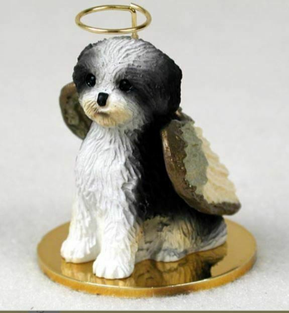 Primary image for SHIH TZU (BLACK/WHITE SPORT CUT) ANGEL DOG CHRISTMAS ORNAMENT HOLIDAY Figurine