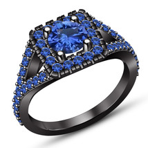 Round Blue Sapphire 14K Black Gold Finish 925 Sterling Silver Engagement... - $84.99