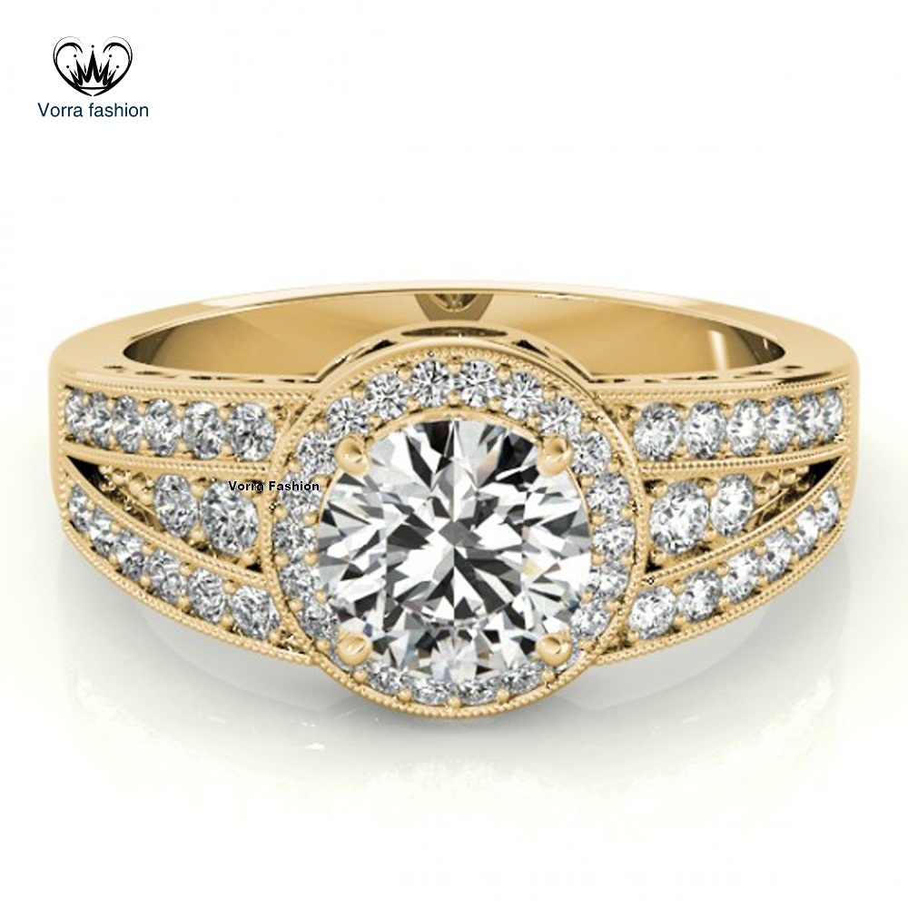 925 Silver 14k Yellow Gold Plated Round Cut Diamond Women's Band Engagement Ring