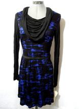Nwt Kensie Pieces Cowl Dress Sm Midnight Blue Black Striking Dyed Warm Holiday - $25.38