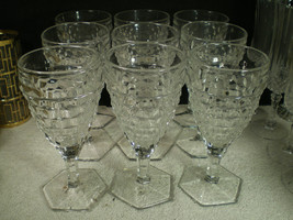 6 FOSTORIA AMERICAN LARGE HEX FOOTED WATER GOBLETS~ - $49.95