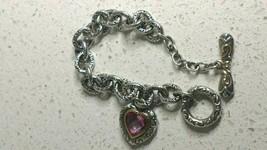 Sterling Silver & 18K Gold Heart Bracelet Designer Signed Pink Topaz 925... - $175.00