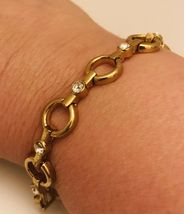 "Avon Sparkling Goldtone Circle Link 7"" -8"" Adjustable Tennis Bracelet J0727 image 5"