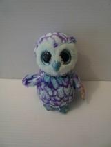 "Ty Beanie Boos Oscar the Owl 6"" Animal Toy Glitter Eyes MINT 2015 - $6.93"