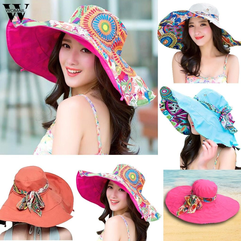 Primary image for Womail Women hat summer Print Two-Side Big Brim Straw Hat Sun Floppy Wide Brim H