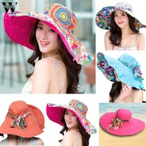 Womail Women hat summer Print Two-Side Big Brim Straw Hat Sun Floppy Wid... - $11.41