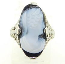 Art Deco 18k White Gold Genuine Natural Stone Cameo Filigree Ring (#J4307) - $525.00