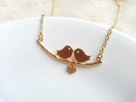 Matte Gold Kissing Birds Necklace Hanging Heart Gold Love Birds Necklace - $34.00