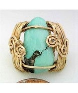 Turquoise Gold Wire Wrap Ring sz 7 - $43.00