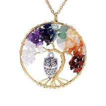 Tree of Life Pendant Amethyst Rose Crystal Necklace Gemstone Chakra Jewelry - $103.99