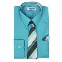 Berlioni Italy Kids Boys Long Sleeve Aqua Dress Shirt Set With Tie & Hanky - 4