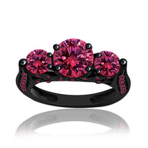 3.63 ct Pink Sapphire Black Sterling Silver Three Stone Solitaire Ring A... - $899.00