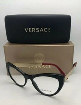 New VERSACE Rx-able Eyeglasses 3244 5239 51-17 140 Black Red-Gold Cat Eye Frames