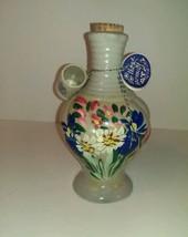 Vintage Hand Gemalt Pottery Decanter Jug bottle with tags & shot glass  - $9.95