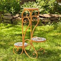 Zaer Ltd. Mosaic Tile Furniture (3 Pot Plant Stand, Santa Fe Light-Orange) - $99.95