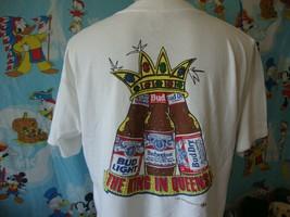 Vintage 90's Budweiser Bud Dry Light Beer Queens New York City T Shirt XL  - $43.56