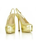 NEW Yves Saint Laurent YSL Tribute TRIBTOO gold leather Slingback Heels 40 - $365.31