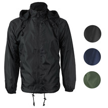 Renegade Men's Water Resistant Polar Fleece Lined Hooded Windbreaker Rain Jacket