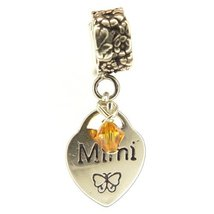 Mimi Heart Topaz Crystal November Birthstone Small Sterling Silver Dangle Family - $25.64