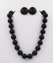 Vintage Classic Black Bead Demi Earring Necklace Demi Set - $19.79